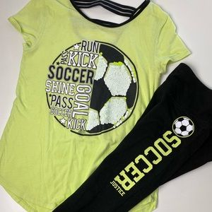 Lime Green and Black Justice Girls Soccer Outfit
